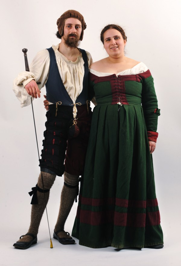 Matt Johnston of Deham, aka Matthaus Kettner, and his wife Eliannas Johnson, aka Petra von Mumpf, their SCA names, pose in thier 1520s Bavarian dress.  Johnson is a metalsmith who created his own fencing helmet made from hammered sheet steel in his work shop. The Society of Creative Anachronism has only one rule, that you come to their events dressed in clothing that is within the SCA time frame, pre-17th-century Europe, according to Monique Bouchard aka Baroness Aneleda Falconbridge of Old Town.
