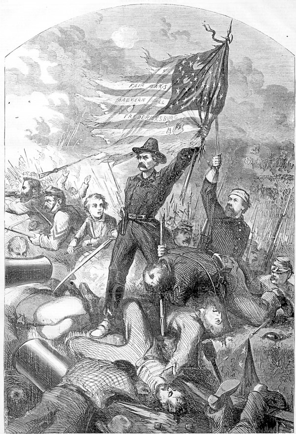 A lithograph published in Harper's Weekly in May 1863 depicts the 6th Maine Infantry Regiment capturing Confederate defenses atop Marye's Heights at Fredericksburg, Va. on Sunday, May 3, 1863. The regiment's commander, Lt. Col. Benjamin Harris, holds the 6th Maine's flag aloft by its broken pole. At his feet lies Color Sgt. John Gray, who carried the flag during the 300-yard charge made by the regiment. Just as he reached the Confederate positions, Gray was struck in the head and left unconscious. Holding a sword aloft behind Harris is Col. Hiram Burnham of Cherryfield; he commanded the division to which the 6th Maine was assigned. Burnham wears a bandage that indicates the head wound he suffered during the charge.