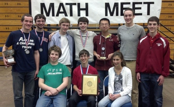 Among those participating for Bangor at the state math meet were: (back row, from left) Paul Rudnicki, Nathan Dee, Will Benoit, Liam Perry, Andy Chen, Leif Grosswiler, and Chandler Stewart; (front row, from left) Conor Thompson, Josh Audibert, Leah Jones.