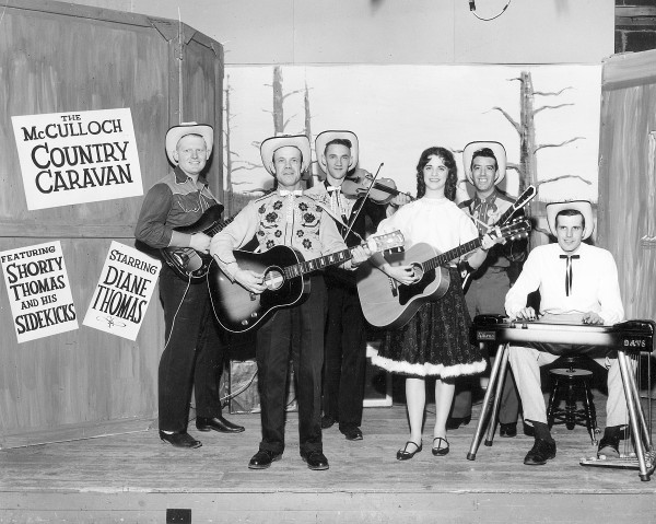 Country Caravan, a show sponsored by chainsaw company McColloch, featuring Shorty Thomas and His Sidekicks, was a very popular local act that played throughout Maine. This shot is from the WABI studio in Hampden just before the current studio was built.