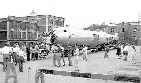 Hundreds of eastern Maine people thronged Abbott Square in Bangor on Saturday, June 30, 1951 and Sunday, July 1, 1951 to viewed the famed B-51 bomber, &quotLucky Lady II,&quot only plane in history to have flown non-stop around the world. The plane is currently on an overland tour of the United States before being retired to the Smithsonian Institute at washington, D.C., to take its place among the nation's historical mementoes. Entering through the nose of the craft, visitors were able to view all the interior facilities of a great bomber. Also on display was an F-84 Thunderjet.