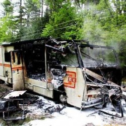 A mobile camper fire was destroyed by fire Saturday night on Naples Road in Harrison.