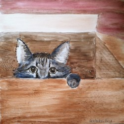 One of the cat-inspired works of art in A Paw in the Door's Artful Cat Silent Auction taking place on June 29 in Bath.