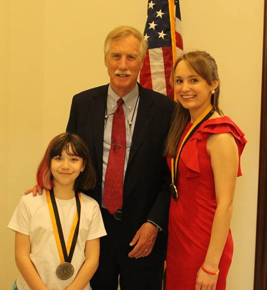 From left to right: Marissa Bates, Sen. Angus King, and Katherine Elliot in Sen. King's Washington, D.C., office.