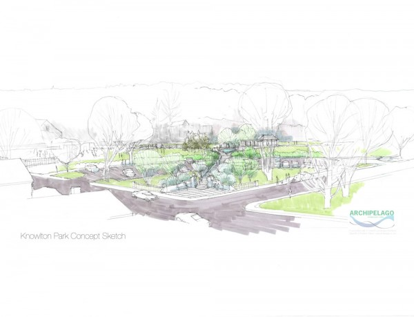 This design sketch shows the improved entrance to a proposed renovation of Knowlton Community Park in Ellsworth.