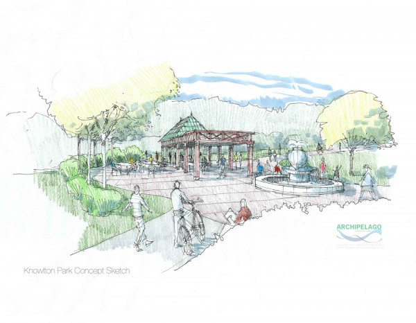 The new Knowlton community Park will feature a central pavilion and fountain by Lunaform, a Sullivan ceramics company.