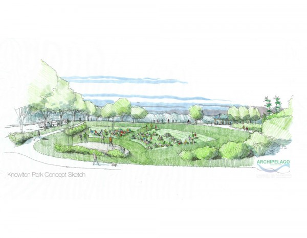 This design sketch shows a proposed amphitheater at Knowlton Community Park, which will be available for movies or plays.