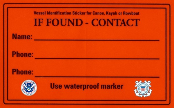 Identification decal to place inside paddle craft.