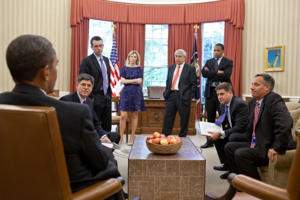 President Barack Obama meets with senior advisors in the Oval Office, June 15, 2012. Pictured, from left, are: Chief of Staff Jack Lew; Senior Advisor David Plouffe; Counsel to the President Kathryn Ruemmler; Counselor to the President Pete Rouse; Rob Nabors, Assistant to the President for Legislative Affairs; Director of Communications Dan Pfeiffer; and Mark Childress, Deputy Chief of Staff for Planning. (Official White House Photo by Pete Souza)
