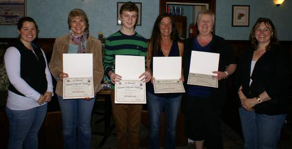 The Kiwanis Club of Rockland sponsored the first annual Cupcake Challenge to raise money for the Knox County Homeless Coalition.  A total of $1,000 was raised from the sale of tickets at which attendees made donations for the privilege of sampling and voting for the best cupcakes in specific categories.  Pictured with some of the organizers are the winners of the competition.
