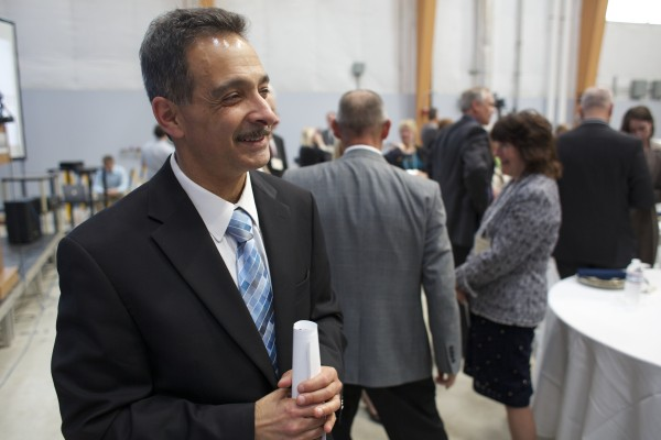 Habib Dagher, director of the UMaine Advanced Structures and Composites Center, talks about the unveiling of a 1/8 scale wind turbine which will be floated down the Penobscot River and out to the Gulf of Maine where it will become the first floating wind turbine off the coast off the U.S.