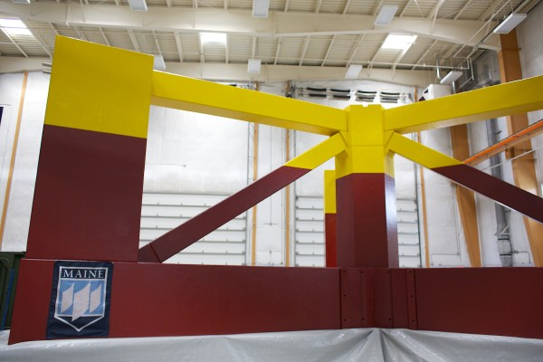The University of Maine unveiled the base for its 1/8 scale wind turbine, Wednesday, which will be floated down the Penobscot River and out to the Gulf of Maine where it will become the first floating wind turbine off the coast of the U.S.