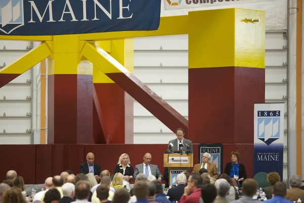 The University of Maine unveiled the base for its 1/8 scale wind turbine which will be floated down the Penobscot River and out to the Gulf of Maine where it will become the first floating wind turbine off the coast of the U.S.
