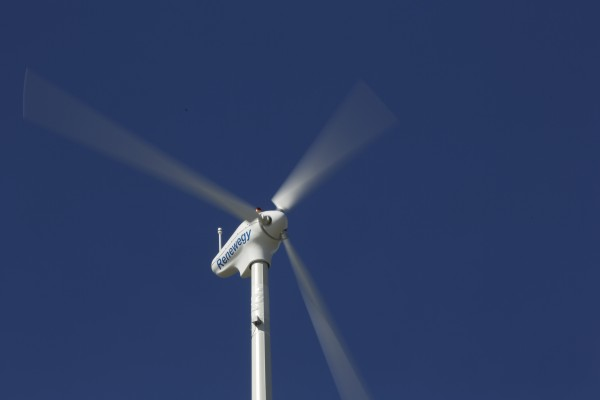 The University of Maine, Orono uses a small scale wind turbine on campus to test sensors that will be used on the final turbine that will be placed on a floating base and shipped into the Gulf of Maine to become the first floating wind turbine off the coast of the U.S.