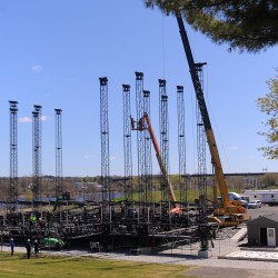 Stage going up at Bangor waterfront