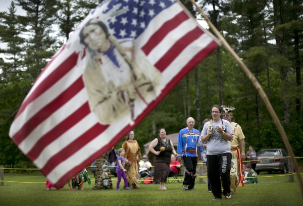 A dance is performed following a flag ceremony at the Metis of Maine annual pow-wow, Saturday, June 8, 2013, in Dayton.
