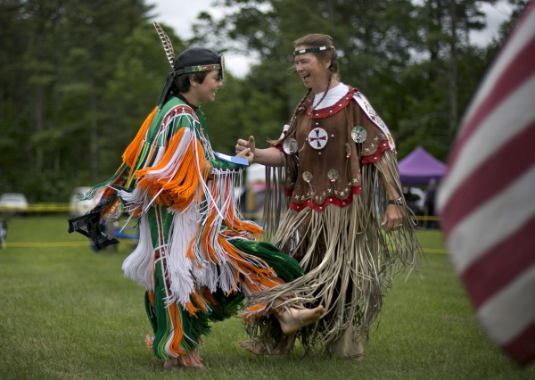 Randy &quotThunder Fox&quot Waterman, of Cape Elizabeth, and his grandmother, Nora &quotQuiet Fox&quot Bachelder, of Acton, dance at the Metis of Maine annual pow-wow, Saturday, June 8, 2013, in Dayton. Like many of the participants in the pow wow, the two dancers have Mic Mac ancestors.