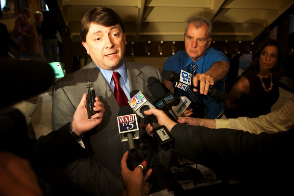 Assistant Senate Majority Leader Troy Jackson, D-Allagash, responds to Gov. Paul LePage's renewed pledge to veto the budget Thursday in Augusta. Jackson was confident the legislature could override such a veto.