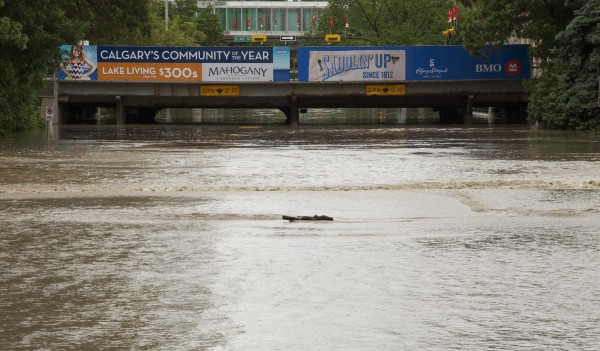An overpass on Macleod Trail shows extreme flooding in Calgary, Alberta on Friday.