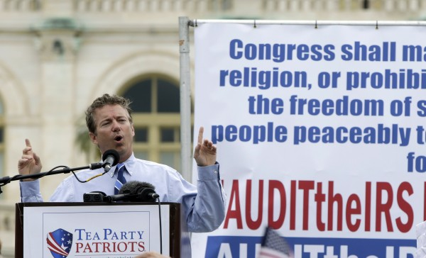 Sen. Rand Paul (R-KY) addresses the crowd during a Tea Party rally to &quotAudit the IRS&quot in front of the U.S. Capitol in Washington June 19, 2013.