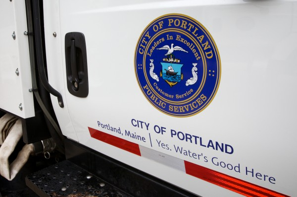 A city truck bears a variation on Portland's new branding campaign Tuesday outside city hall.