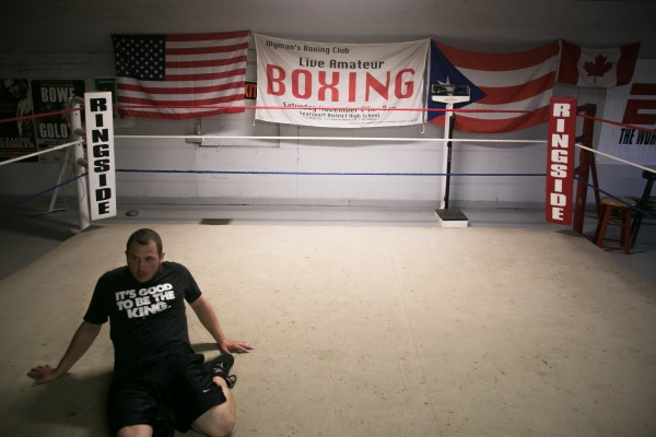 Joel Bishop stretches in the ring before sparring at Wyman's Boxing Club in Stockton Springs on Thursday, May 29, 2013.