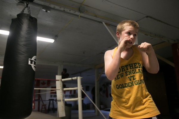 Wyatt Stevens, 10, of Monroe, shadow boxes at Wyman's Boxing Club in Stockton Springs on Thursday, May 29, 2013.