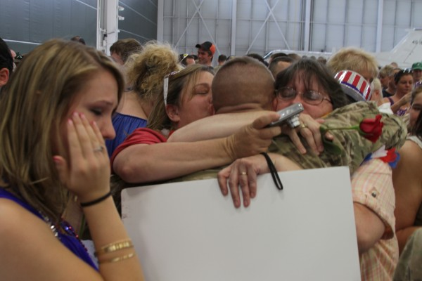John Carter of Bucksport is greeted by his whole family, wife parents, grandparents, brothers, sisters, sister in laws, brothers in law, nieces and nephews Saturday. Not a dry eye or a family member not touching Carter congratulating him on his safe return home.