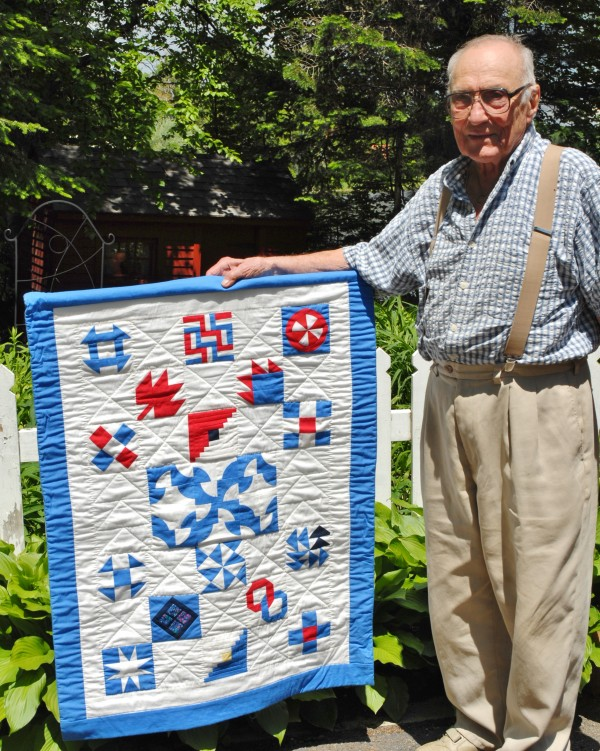 Symbols incorporated into quilts and other textile items were often used as markers signifying safe routes and stops along the Underground Railroad, the route followed by slaves escaping from the south and heading north for freedom. Fort Fairfield historian Art Mraz displays a small quilt showing samples of some of those symbols.