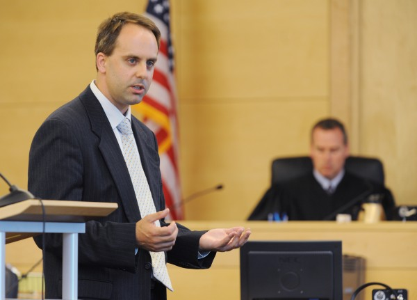 Attorney Hunter Tzovarras addresses the jury during closing arguments in the Warren Dome criminal threatening with a dangerous weapon trial at the Penobscot Judicial Center in Bangor on Tuesday.