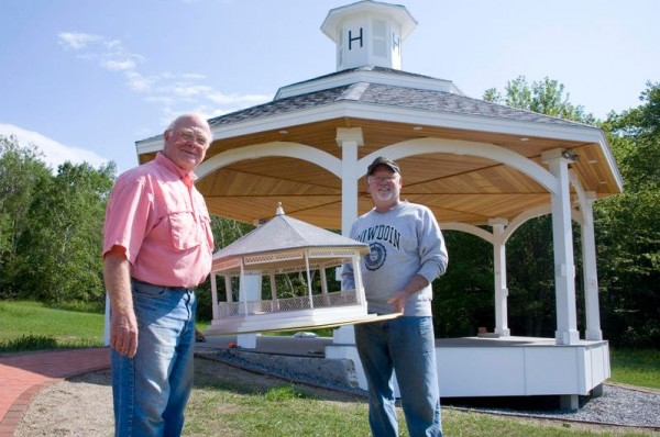 Robert Modr and Dan Huber led the all-volunteer project to build the Harpswell Bandstand, which will be presented to the town at a June 16 dedication ceremony.
