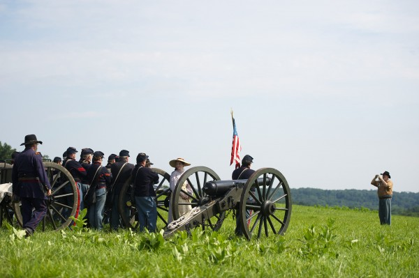 Actors playing members of the 5th Massachusetts Battery and the L and M Battery of the 3rd U.S. Artillery pose for a group photo on the final day of the Blue Gray Alliance during events marking the 150th anniversary of the Battle of Gettysburg, in Gettysburg, Pennsylvania June 30, 2013.