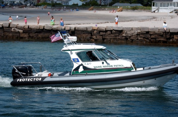 A Maine Marine Patrol vehicle returns to the Kennebunkport River from the Atlantic Ocean in Kennebunkport in this file photo.