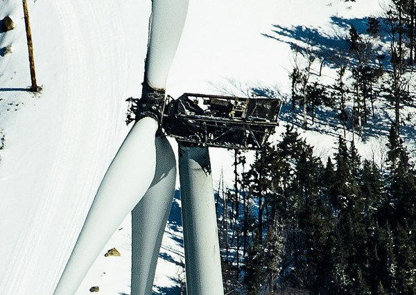 A fire on Jan. 23, 2013, destroyed this turbine at TransCanada's Kibby Mountain wind farm.
