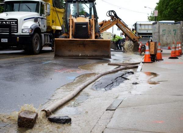 Michelle Clements of the Portland Water District said traffic is reduced to one lane on Pearl Street between Middle and Newbury Streets after a water main break on Pearl Street in Portland caused the federal court house to shut down for the day.