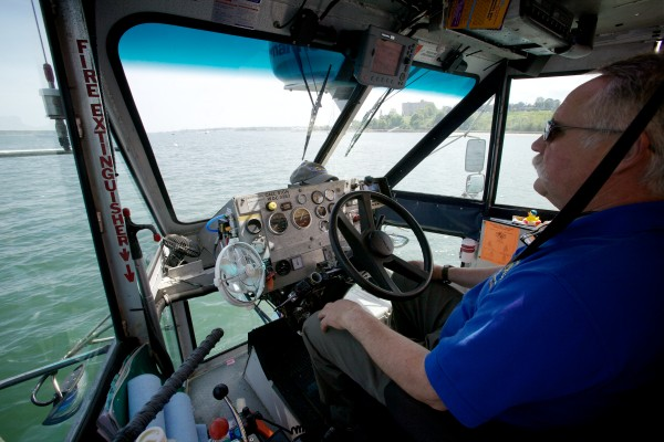 Capt. Joe Stanley drives the amphibious Downeast Duck tour Thursday afternoon off the East End Beach in Portland.