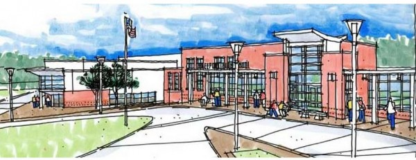 This drawing depicts what the front entryway to Freeport High School would look like after a proposed nearly $17 million renovation project is complete.