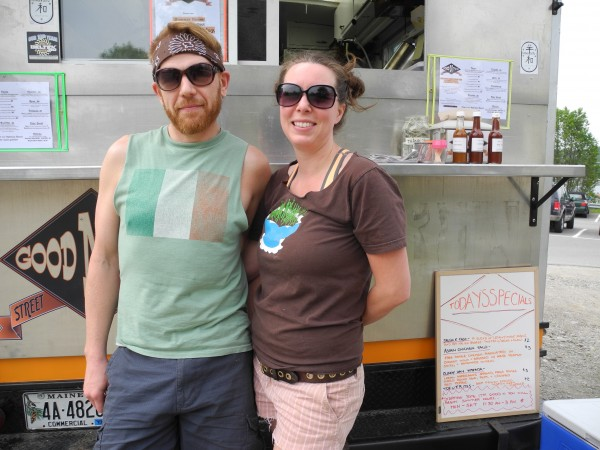 Seth Whited and Sarah Waldron serve lunch offerings including tacos, gyros and tofu frites from their Good 'n' You street food truck.