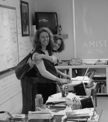 Kathryn King, left, in a classroom at Hampden Academy, with her daughter, Kristina King.