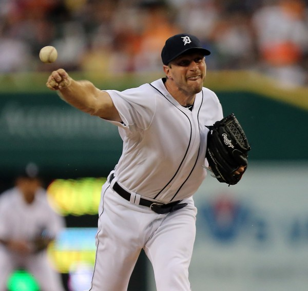 The Detroit Tigers' Max Scherzer pitches against the Boston Red Sox in the fourth inning at Comerica Park in Detroit on Saturday night, June 22, 2013. The Tigers won, 10-3.