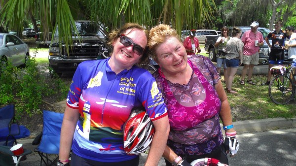 After 360 miles, some Georgian heat, a tropical storm and a pickle shooter or two, BDN reporter Julia Bayly and fellow northern Maine cyclist Penny McHatten cross the finish line of the Bike Ride Across Georgia on Saturday, June 8.