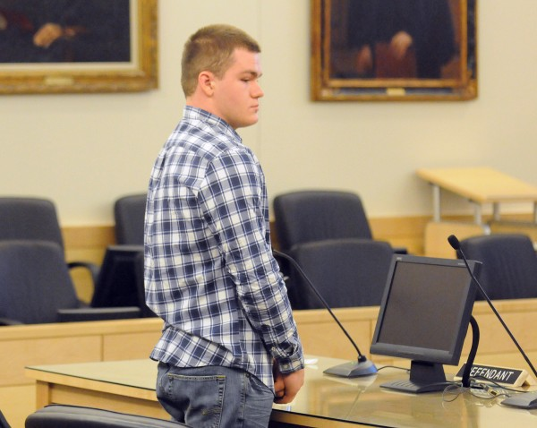 Kyle Dube, 20, at the Penobscot Judicial Center Wednesday morning.  Dube pleaded not guilty to kidnapping and murder in the death of Nichole Cable.