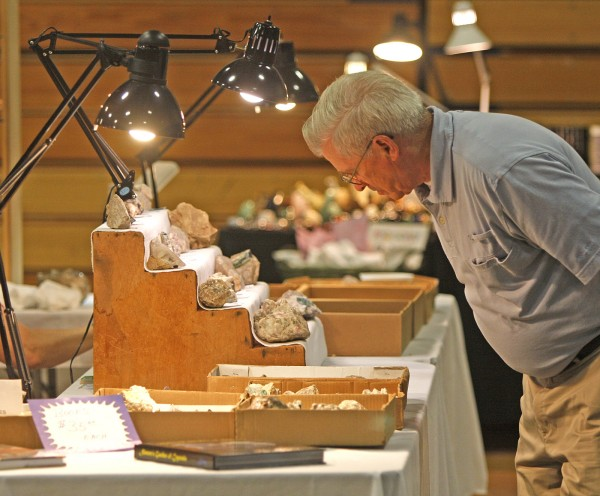 A visitor to the 2010 &quotAnnual Western Maine Gem, Mineral and Jewelry Show&quot inspects mineral specimens on display at Telstar Regional High School in Bethel. The 2013 show will be July 13-14 at the Crescent Park Elementary School in Bethel.