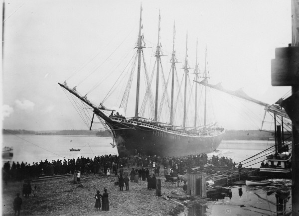 This photograph shows the six-masted schooner Wyoming as it was first launched into the Kennebec River on Dec. 15, 1909.
