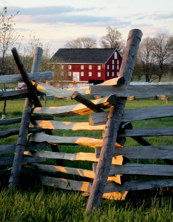 The original barn at Sherfy Farm caught fire during the Battle of Gettysburg in Gettysburg, Pa., and burned to the ground.