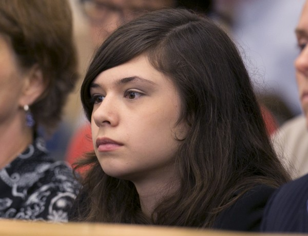 Transgender student Nicole Maines listens during a hearing before the Maine Supreme Court, Wednesday, June 12, 2013, in Bangor.