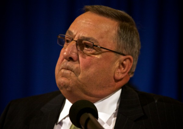 Governor Paul LePage renews his pledge to veto the state budget at an Americans for Prosperity  rally at the State House in Augusta Thursday.