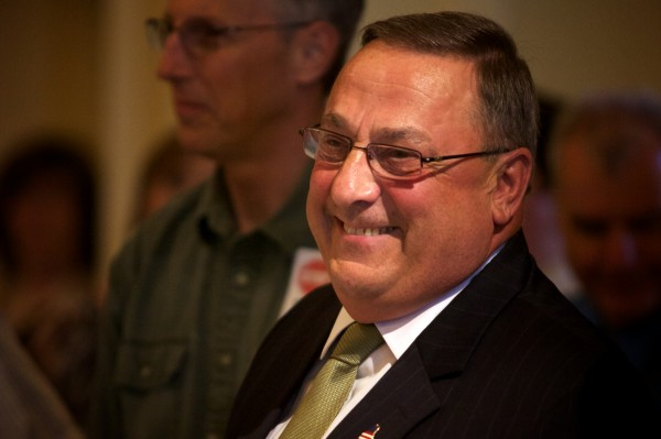 Governor Paul LePage renewed his pledge to veto the state budget at an Americans for Prosperity rally at the State House in Augusta Thursday.