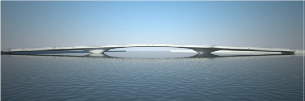 A rendering of a bridge being built in Mandal, Norway, which will use composite components manufactured by Harbor Technologies in Brunswick, Maine.