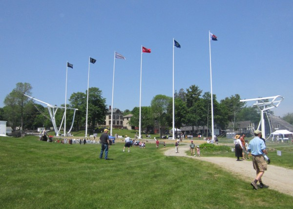 Flags were raised Saturday during a ceremony marking the completion of the sculpture Wyoming at Maine Maritime Museum.
